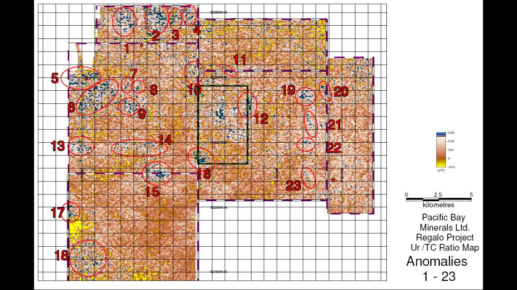 Map of Regalo Airborne Uranium Anomalies