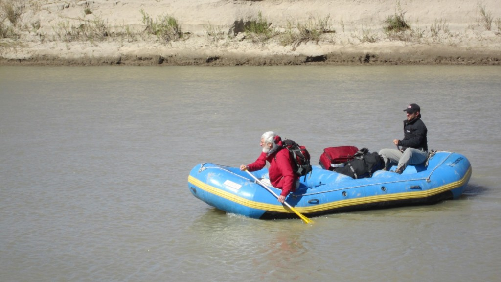 Geologist Dr. Richard Culbert crossing the Chubut River during 2011 Regalo exploration program